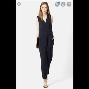 TOPSHOP Sleeveless Wrap Front Jumpsuit